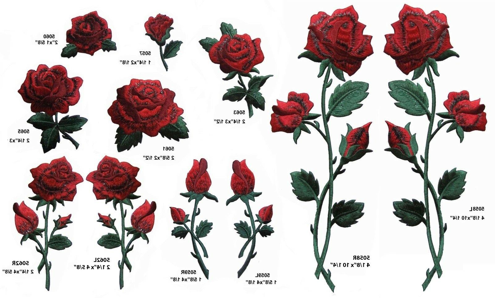 red rose flower embroidery iron on applique