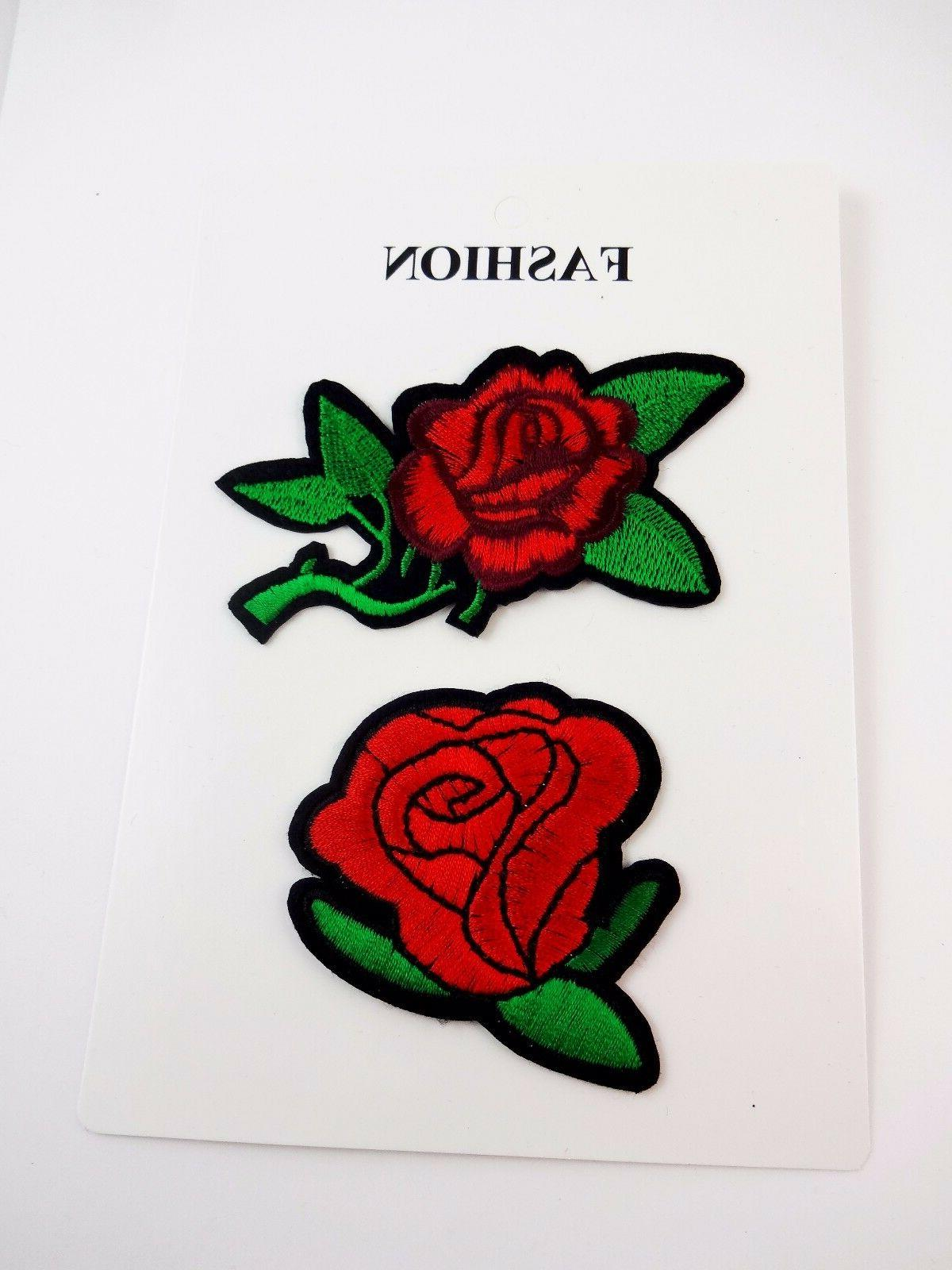 Red rose patches iron on embroidered set of two decorate clo