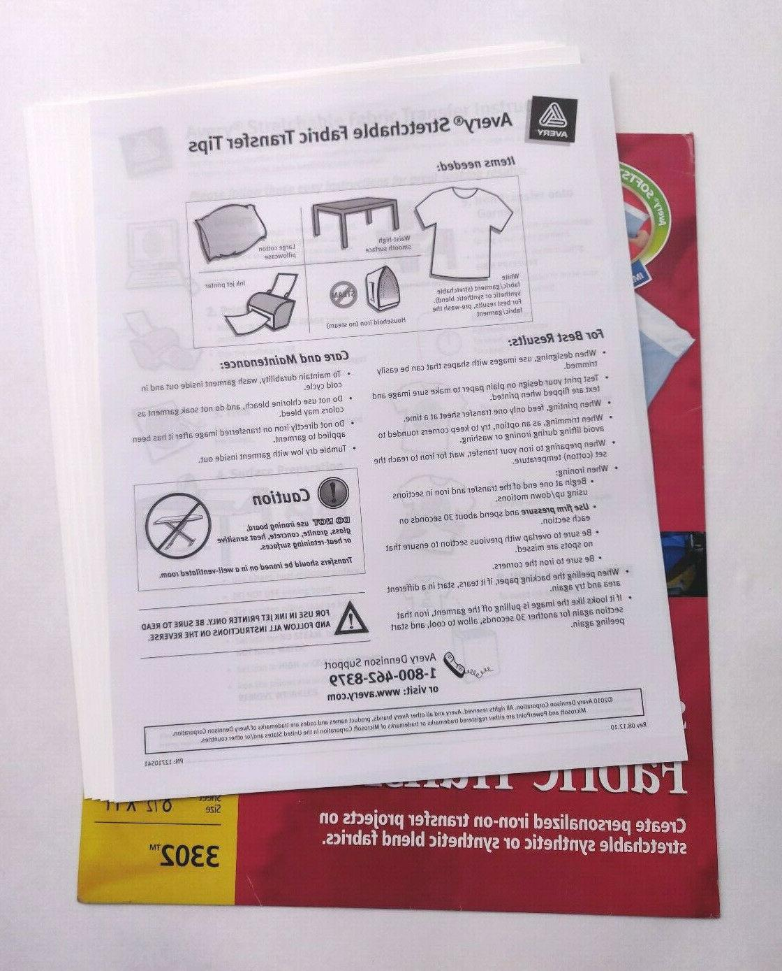 """Avery Stretchable Fabric Iron-On Transfers - - 8-1/2"""""""