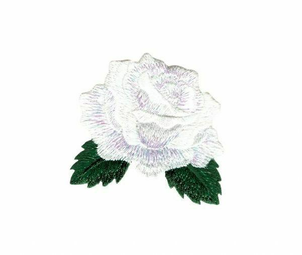 white rose patch iron on applique flower