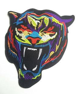 Large Multi-Color Tiger Head, Iron-On/Sew-On Embroidered Pat