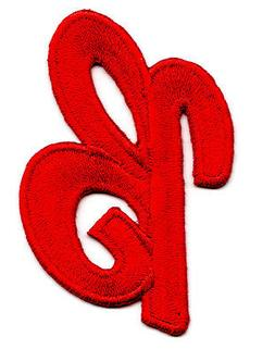 """Letters - Red Script  2"""" Letter """"B"""" - Iron On Embroidered Ap"""