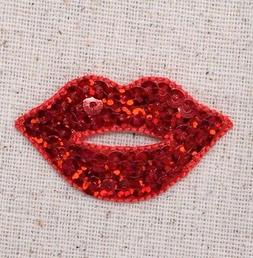 lips red hot sequin embroidered patch iron