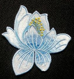 Lotus Flower Embroidery Iron On Applique Patch blue  color 3