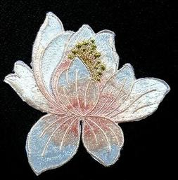 Lotus Flower Iron On Applique Patch  color  as pictured 3 1/