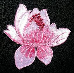 Lotus Flower Iron On Applique Patch shade of pink  color 3 1