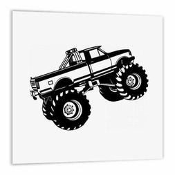 """3dRose Monster Truck-Iron on Heat Transfer, 8 by 8"""", for Whi"""