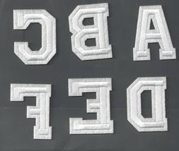 New Alphabet letters patch Varsity 2 inch white on cream Sew