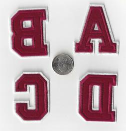 New Alphabet letters patch Varsity 2 inch Burgundy Red on wh