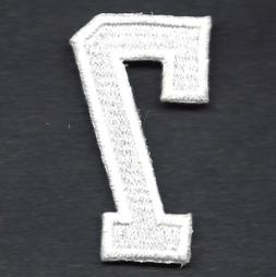 """NUMBERS  - White Number """"7""""  - Iron On Embroidered Applique/"""