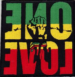 ONE LOVE Iron On Patch Jamacia Rasta Reggae Jamaican Biker