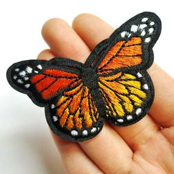 Orange Monarch Butterfly Patch Iron-On/Sew-On Embroidered Ap