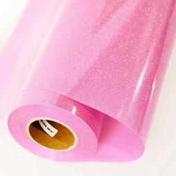 Pink Glitter Iron On Heat Transfer Vinyl Film DIY, Sheet For
