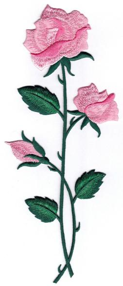 PINK ROSE FLOWER IRON ON PATCH EMBROIDERED Flowers Roses 9 3