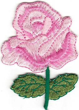 Pink Rose Iron On Patch Flowers Garden Roses