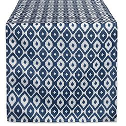 DII CAMZ38581 BLUE IKAT OUTDOOR TABLERUNNER 14x72