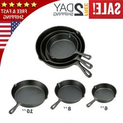 Pre Seasoned Cast Iron Skillet Fry Pan Set 3 Pcs Frying Pan