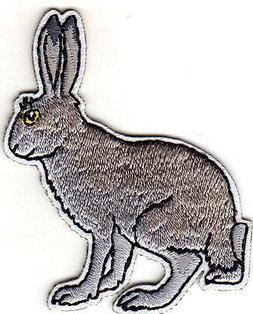 RABBIT, GRAY Iron On Embroidered Patch Forest Animal Bunny