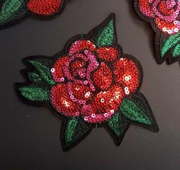 Red & Pink Sequin Rose with Leaf Embroidered Patch Iron-On/S