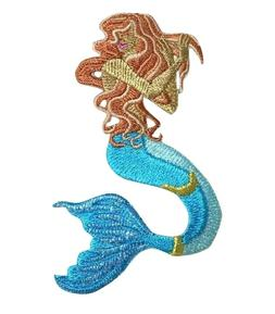 Red-headed Mermaid Mythical/Fantasy Iron On Embroidered Patc