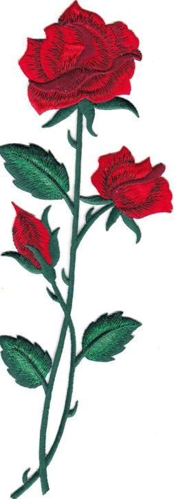 RED ROSE FLOWER Iron On Patch Embroideered Applique Flowers