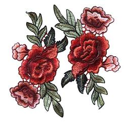Red Rose Flowers Patch Embroidered Floral Applique Sew on Pa