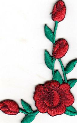 RED ROSE Iron On Patch Flowers Collar Trim