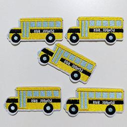 10pcs School Bus Back to School Yellow Bus Car Iron On Sew O