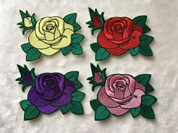 Sew Glue Iron On Fully Embroidered Patch Beautiful Rose Larg