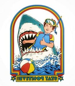 shark stay positive patch funny iron on