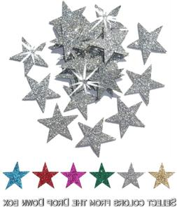 CrystalsRus Silver 48 Fabric Glitter Stars 1 Inch 25mm Iron-