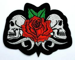 Skull Red Rose Biker Embroidered Patches Iron On Appliqué 1