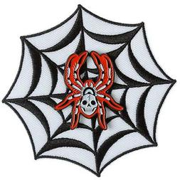 SPIDERWEB EMBROIDERED IRON-ON PATCH AND ENAMEL PIN SET THRIL
