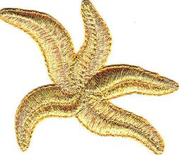 STARFISH GOLD METALLIC Iron On Patch SEA CREATURE BEACH OCEA