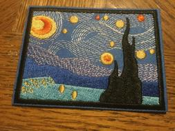 """Starry Night Embroidered Iron on Patch Applique 3.75""""x2.75"""
