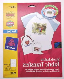 Avery Stretchable Fabric Iron-On Transfers - 5 Sheets - 8-1/