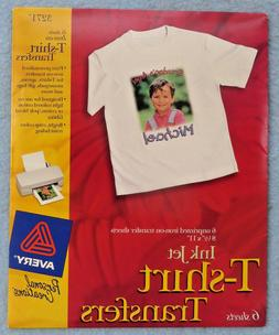 T Shirt Transfers Iron On Avery InkJet White 6 Sheets #3271