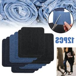US 12X Jeans Patches Iron On Elbow Knee Denim DIY Sewing App