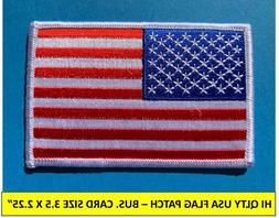 USA AMERICAN FLAG EMBROIDERED PATCH IRON-ON SEW-ON WHITE BOR
