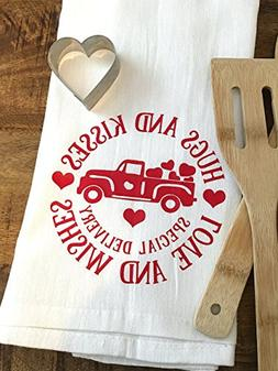 Valentines Day Kitchen Towel - Heart Truck - Hugs and Kisses