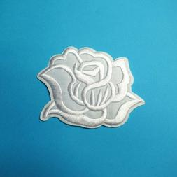 White Rose Patch Iron-On/Sew-On Embroidered Applique