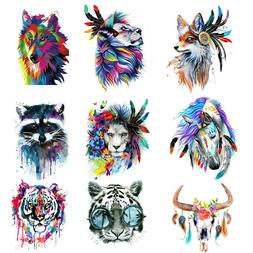 Wolf Unicorn Tiger Feather Patches Iron on Clothes Stickers