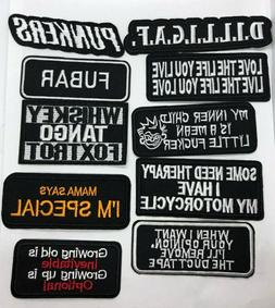Words Slogan Embroidered Iron on  Patches Fabric Badge Stick